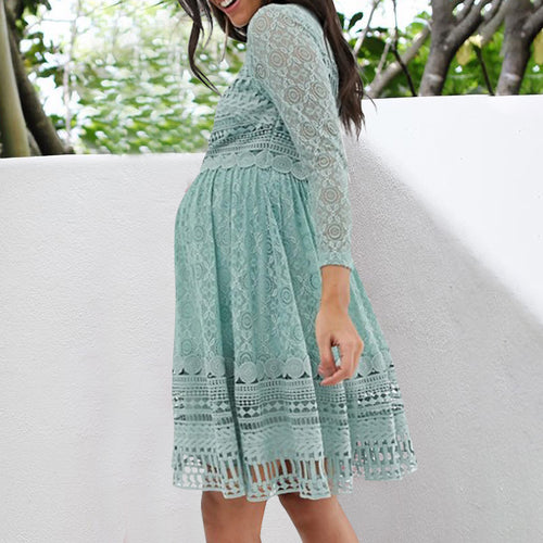 Maternity Cute Long Sleeve Lace Mini Dress