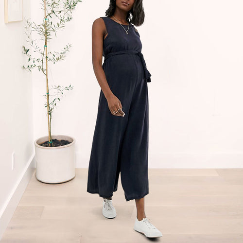 Maternity Casual Belted Sleeveless Pure Colour Maxi Dress