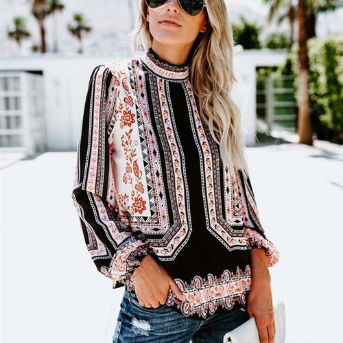 Retro Printed Long-Sleeved Snow Spinning Shirt - yoyosfashion