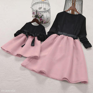 Mom Girl Bowknot Self Tie Color Block Matching Dress - yoyosfashion