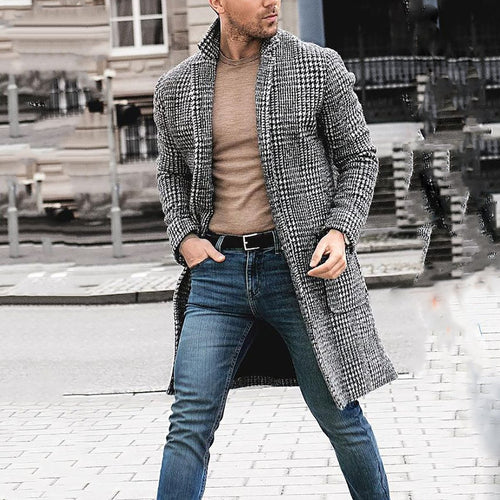 Mens Vintage Lapel Collar Check Printed Winter Long Coat - yoyosfashion