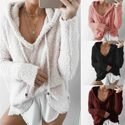 Long Sleeve V Necke Pocket Pullover Hoodies Sweatshirts - yoyosfashion