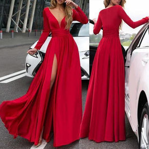 Maxi Dress Long Dress V-Neck Long Sleevethe Sides Split for Party - yoyosfashion