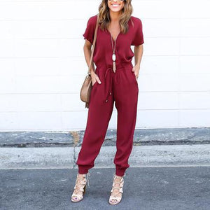 V-Neck Solid Color Jumpsuits Bottoms - yoyosfashion