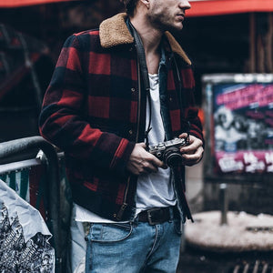 Fashion Mens Grid Splice Outerwear - yoyosfashion