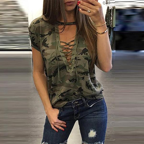 Deep V Neck  Lace Up  Camouflage T-Shirts - yoyosfashion