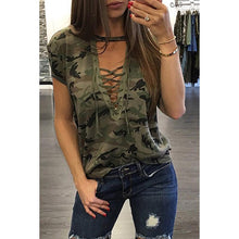 Load image into Gallery viewer, Deep V Neck  Lace Up  Camouflage T-Shirts - yoyosfashion