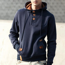 Load image into Gallery viewer, Mens Plain Pullover Button Hoodie - yoyosfashion