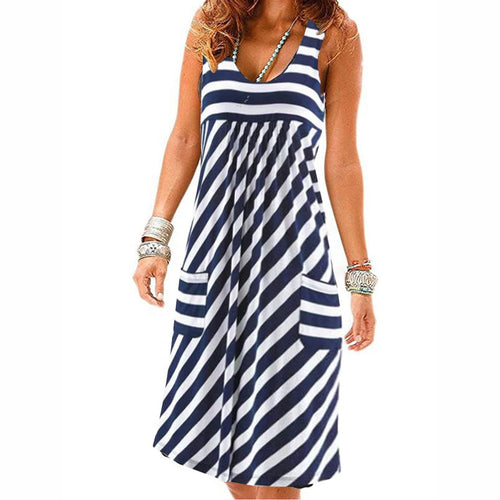 Shift Dress Sleeveless Round Neck Striped Casual Summer Vacation - yoyosfashion