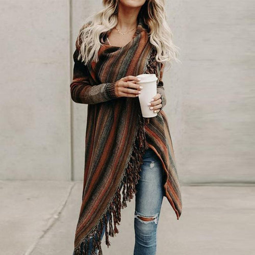 Fringed Crazy Blanket Cardigan - yoyosfashion