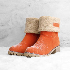 Women Warm Square Heels Multicolor Snow Boots - yoyosfashion