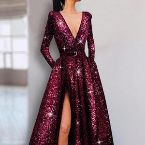Evening Dresses V Neck Shiny Plain Long Sleeve for Party - yoyosfashion