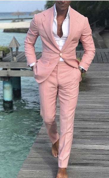 Mens Suit Slim Fit Tuxedo Prom Wedding Blazer Style Gentle Tailor Made 2 Piece Terno