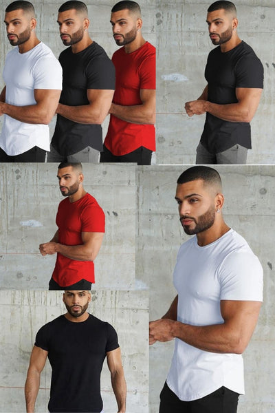 Men's Muscle Fit Longline Short Sleeve Sweat T-shirts Quick drying Gyms Super Extreme Tops Breathable Stretch Tee jersey