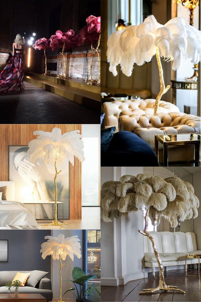 Nordic Ostrich Feather Living Room LED Floor Lamps Living Room Bedroom  Modern Interior Lighting Decor Floor Light Standing Lamp