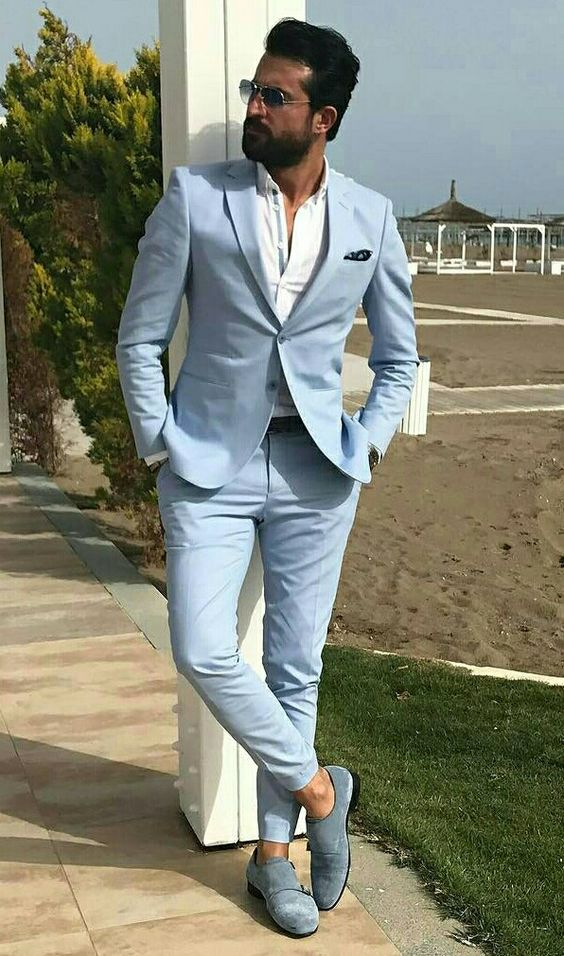Men Suit Slim Fit Tuxedo Prom Wedding Blazer Style Gentle Tailor Made 2 Piece Terno