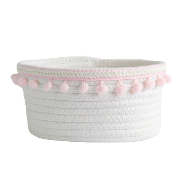 Cotton Rope Storage Baskets With Pompom Handmade Woven Dirty Clothes Laundry Basket Kids Toy Desktop Sundries Organizer Hamper