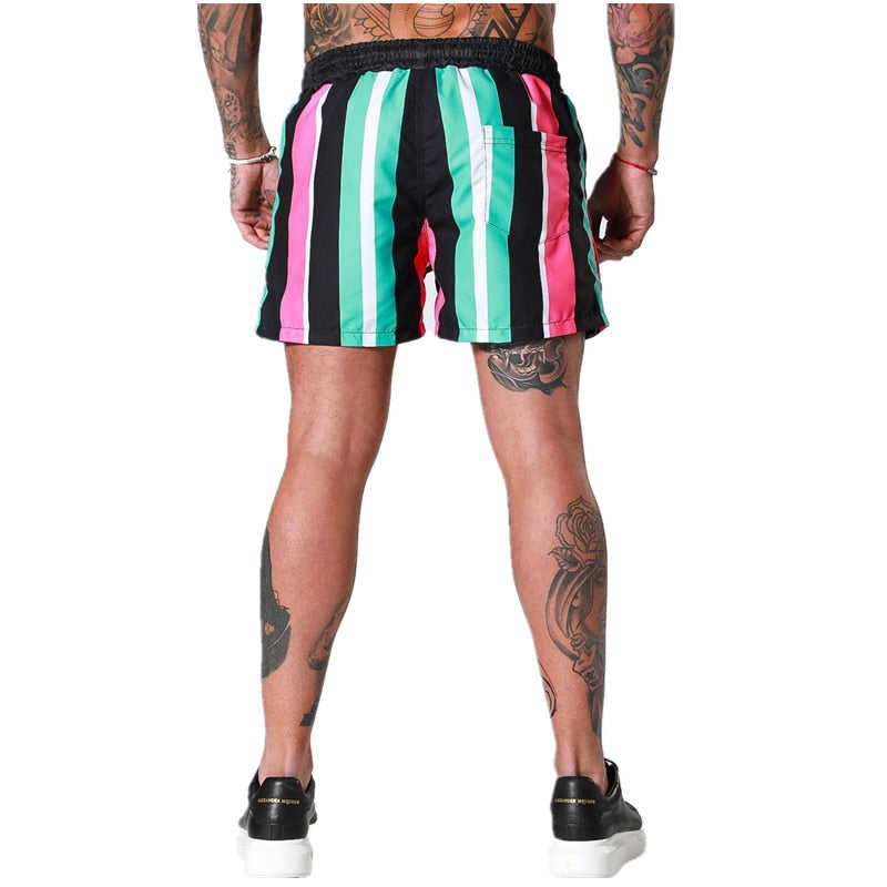 Mens Shorts Breathable stripe Fitness Bodybuilding compression Fashion Casual Gyms male Joggers Workout  Beach Slim short Pants