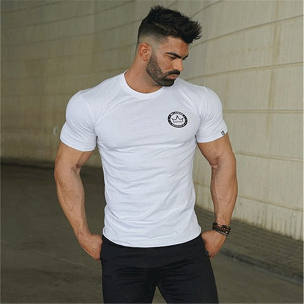 Men t shirt  Fashion stitching Cotton Breathable Mens Short Sleeve Fitness Gyms Tee Tight Casual Summer Top camisetas