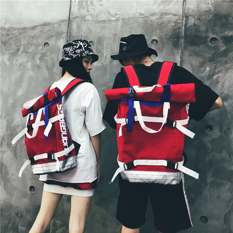 Contrast color school bag student large capacity roll cover backpack  men and women fashion 15.6 computer bag hip hop backpack