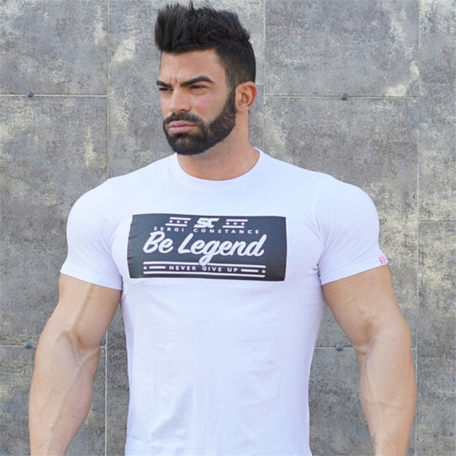 brand clothing Solid men t shirt casual Adolescent's personality o-neck T-shirt male Top quality  Fitness stretch Tshir