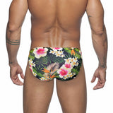 Mens Swim Briefs Swimwear Men Sexy Summer Swimsuit Push Up Low Waist Swimming Trunks Flower Print Surfing Beach Shorts Beachwear