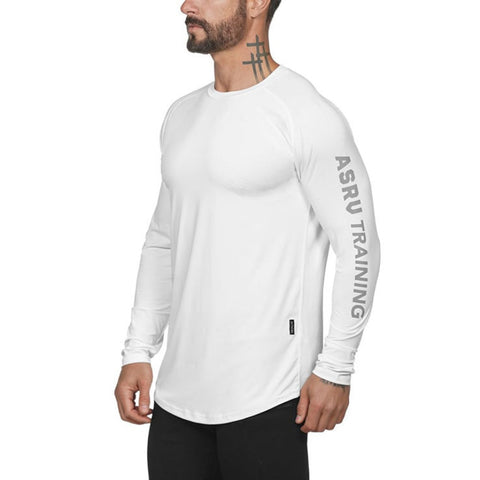 Gym Fitness T Shirt Men Long Sleeve Sports Top Running T-shirt Workout Soccer Sweatshirt O-neck Sport Shirt Men