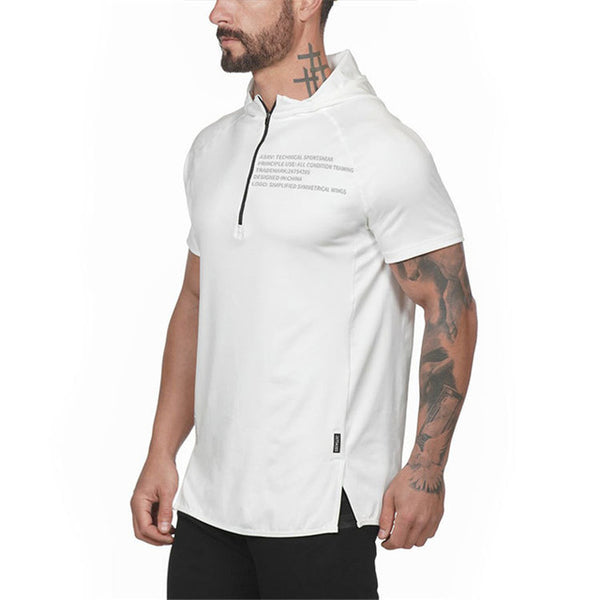 Men Running Hoodies Sweatshirt Sportswear Zipper Neck Gym Hoodies Sport Short Sleeve Men's Slim Fitness Hooded Jackets Tops