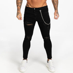 Black Skinny Ripped Jeans For Men Super Spray on Ankle Tight Middle Waist Fashion Streetwear Style Denim Pants Male