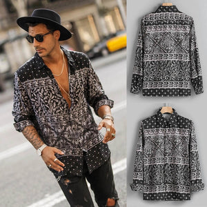 Mens Autumn Fashion Shirt Casual Long Sleeve Beach Top Loose Casual Shirt Blouse