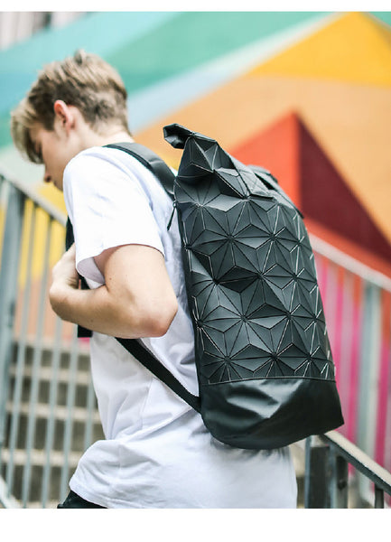New Backpack Men and Women Computer bag Backpack Clover bag 3D Diamond Geometry Stitching backpack