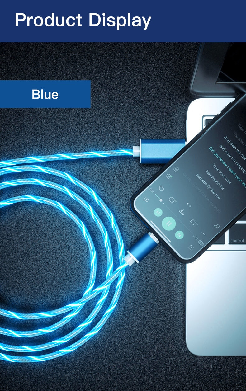 LED Glow Flowing magnetic Charger usb cable Type C Micro USB C 8 Pin Charging for iPhone android magnetic Cable Charge Wire Cord
