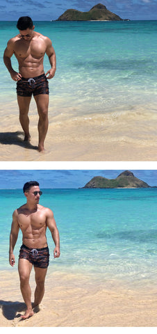 Brand Men Sexy Swimwear Swimsuits Boardshorts Camo Pockets Bathing Suits Beach Board Trunks Gay Pouch Swim Long Bottoms