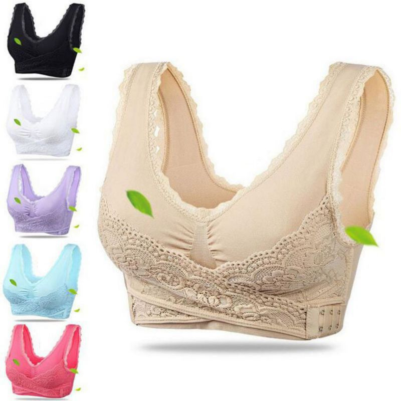 Women Sexy Lingerie Lace Solid Color Cross Side Buckle Wireless Push up Breathable Sleep Underwear Sports Bra