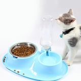 Automatic Drinker Double Bowl Pet Slow Eating Double Bowl Non Slip Pet Feeding Bowl with Water Bottle