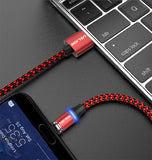 USLION LED Magnetic USB Cable For Samsung Xiaomi For iPhone XS X Magnet Plug & USB Type C Cable & Micro USB Cable Fast Charging