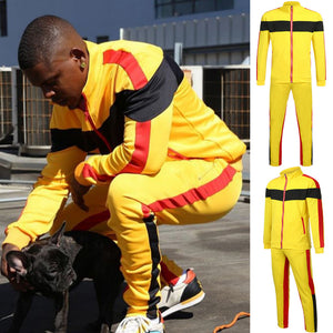 Fashion Lovers Large Size Stitching Color Strip Zipper Pocket Casual Sports Suit  Men's sports Suits tracksuit hoodies