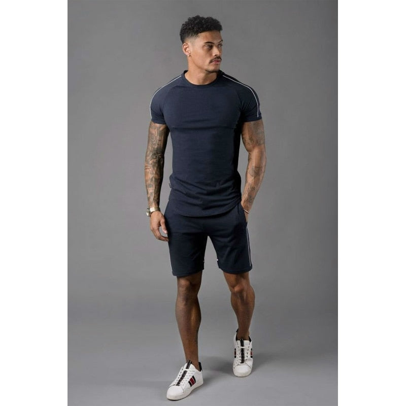 Mens Set Streetwear Quick Dry Gym Sporting 2 pieces set Shorts T Shirts+Shorts Stripe Printed Men Sets