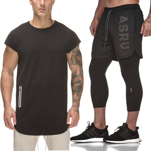 sporting slim fit sets mens FAKE 2 IN 1 Shorts Gyms Fashion tracksuit Men's Sportwear Suit Short Tee + pants Tracksuit Set