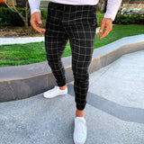 Mens Slim Fit Men Skinny Chino Pants Super Comfy Stretch Pants For Men Plaid Design Side Stripe Elastic Waist Pants