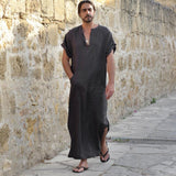 tops Men's t-shirt Ethnic Robes Loose Striped Short Sleeve Thin Vintage Dress Kaftan men's t shirt casual