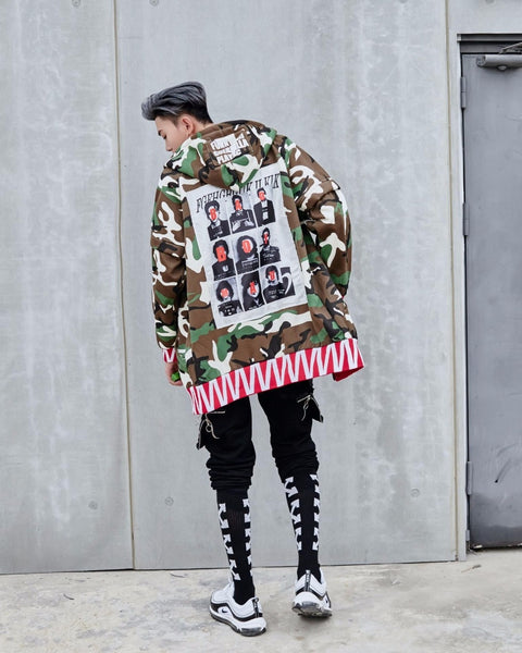 Autumn Oversize loose army green camouflage Warm hoodie foreign trade original men's cardigan coat Fleece L204