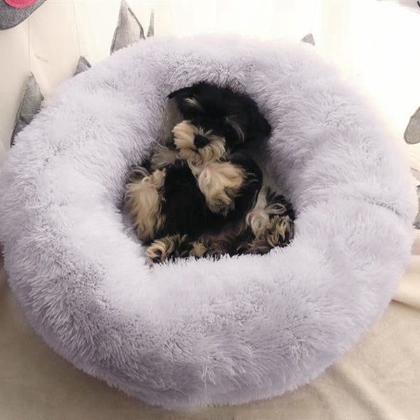 40-100CM Warm Fleece Plush Dog Bed Donut Cat Bed Warming Indoor Round Pillow Cuddler Faux Fur Dog Beds Kennel  Medium Small Dog