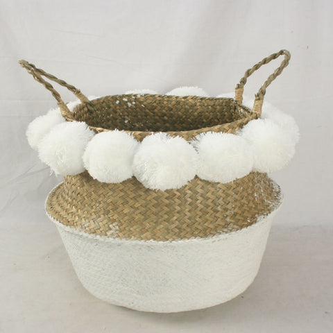 Natural Seagrass Decorative Vintage Storage Basket With Handle Laundry Belly Planter Pom Pom Nursery Home Toys Foldable