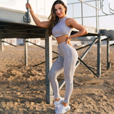Sexy New Women Yoga Sport Suit Bra Set 2 Pcs Female Short-sleeved Summer Sportswear Running Fitness Training Clothing