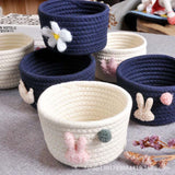 Cotton Rope Woven Basket with Fluffy Crown Rabbit Pattern Sundries Baskets Makeup Cosmetic Desktop Organizer Nordic Style 1piece