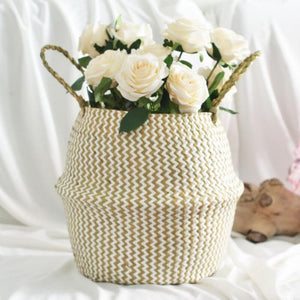 Foldable Staw Storage Basket Folding Wicker Rattan Seagrass Sundries Garden Flower Pot Planter Laundry Clothing Basket