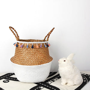 3pcs set Storage Baskets Foldable Laundry Straw Patchwork Wicker Rattan Seagrass Belly Garden Flower Pot Planter Basket