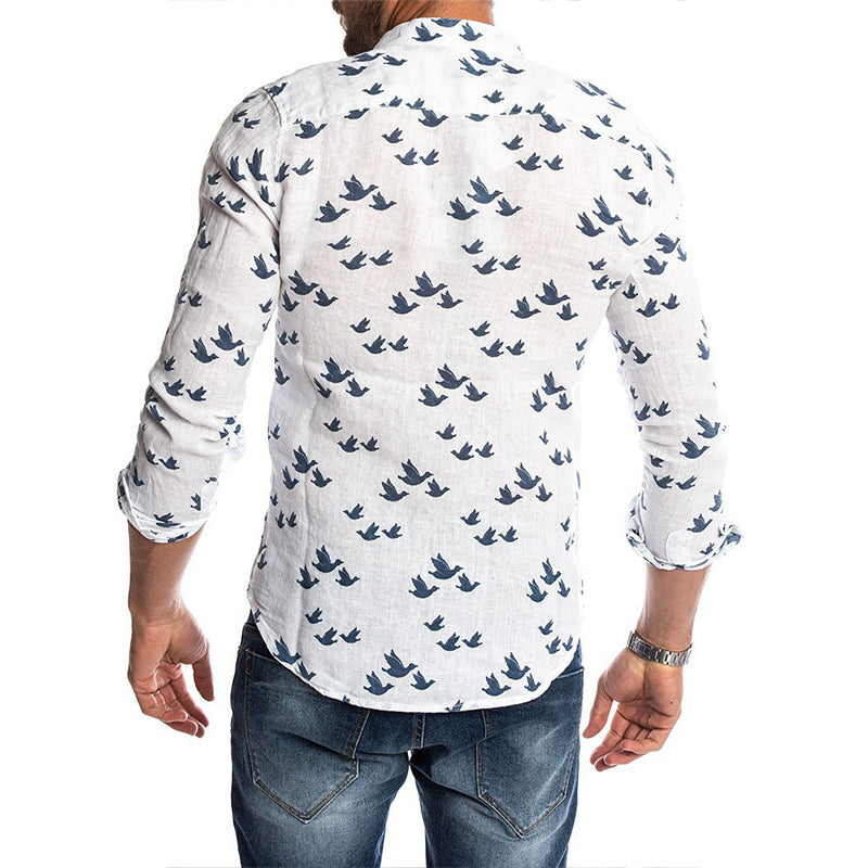 Newest Mens Fashion Casual Duck Printed Shirts Autumn Slim Fit Button Placket Korean Cut Collar Long Sleeve Male Social Business