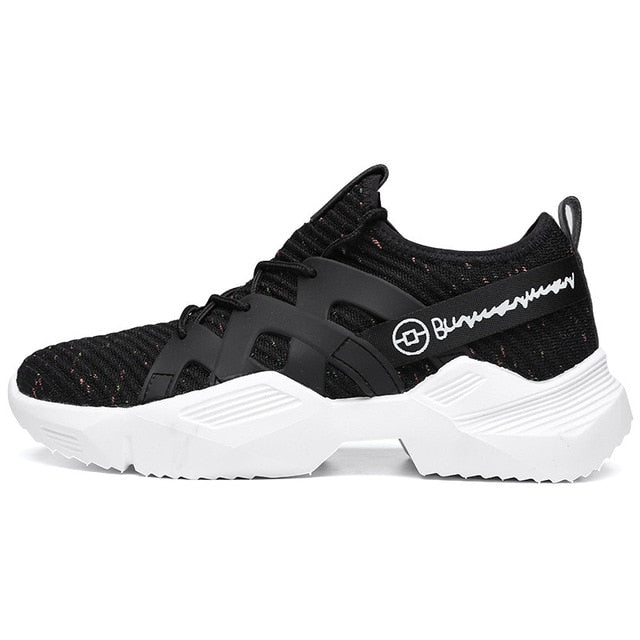 New Trend Sport Shoes Man Flying Weaving Shoes Running Shoes Man Outdoor Non-slip Heighten Thick Bottom Shoes Men Dad Sneakers